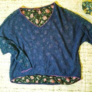 Betsey Johnson Pink & Navy Floral Sheer Top OSFA